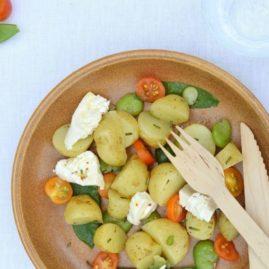 Salade d'été pomme de terre DÉLICATESSE®, tomates cerise, pois gourmands, fèves, burrata