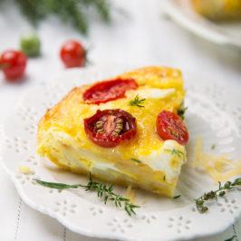 Miam ! Gratin de pommes de terre, feta et tomates cerises