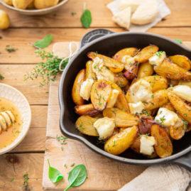 Pommes de terre Délicatesse rôties au miel et thym, picodon AOP de la Drôme