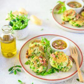 Palets de pommes de terre Délicatesse, courgettes et petits pois, sauce vierge à l'huile d'olive de Nyons AOP